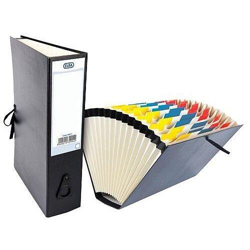 Elba Expanding File with Cloth Ties A-Z 1-31 Jan-Dec Foolscap Black Ref 100080766 56611