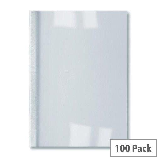 GBC Thermal Binding Covers 4mm Leathergrain White Ref Pack 100