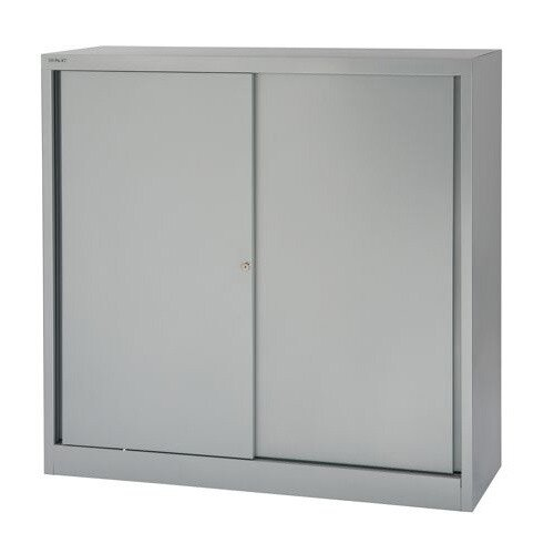 Bisley Sliding Door Cupboard With 2 Shelves W1200xH1181 Silver – Lockable, 330mm Lateral Filing Cradle, 5-Year Warranty, Already Assembled &High Quality Steel (SD412/11/2S-arn)