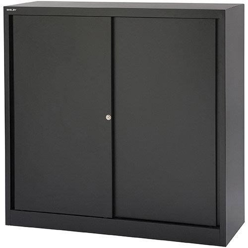 Bisley EuroTambour SD412/11  1181mm  Low Sliding Door Cupboard with 2 Shelves  Black