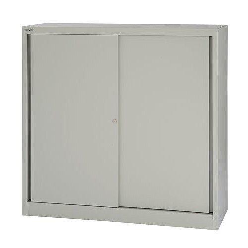 Bisley Sliding Door Cupboard with 2 Shelves W1200xH1181 Goose Grey Ref SD412/11/2S-av4