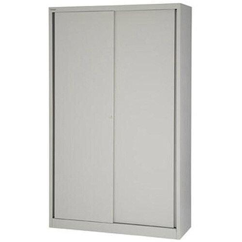 Bisley EuroTambour SD412/19 Tall Sliding Door Cupboard with 4 Shelves  Goose Grey