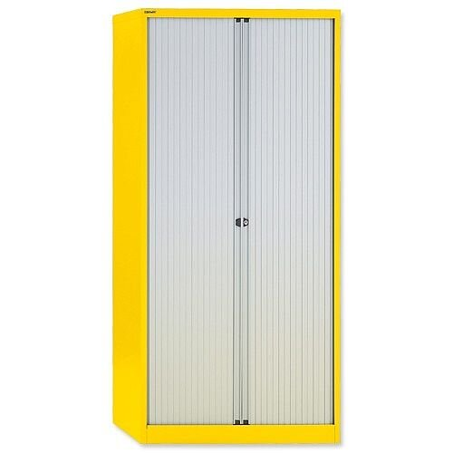 GLO by Bisley Tambour Cupboard Steel Side-opening H1968mm Lemon Ref AST78W Yellow