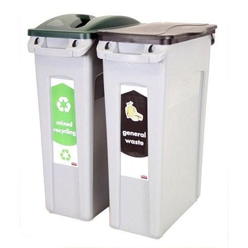 Rubbermaid Slim Jim Bin Starter Pack Includes x2 Recycling Bins 87 Litres Each Green/Black