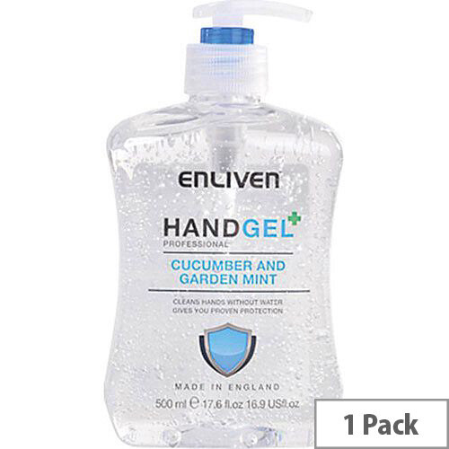 Enliven Hand Sanitizer Original Fragrance Cucumber &Garden Mint 500ml (Pack 1) Ref 502169