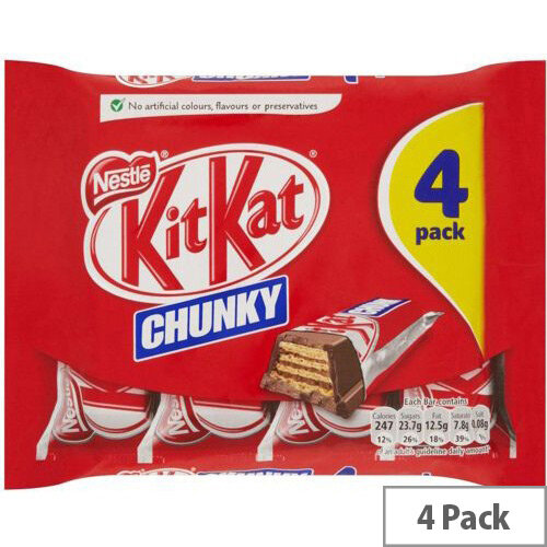 Nestle Kit Kat Chunky Milk Chocolate Bars Chocolate Covered Wafer Biscuits Individually Wrapped Pack Of 4. Ideal For Any Home, Office, Canteen, Reception Area Or Even Just For A Break.