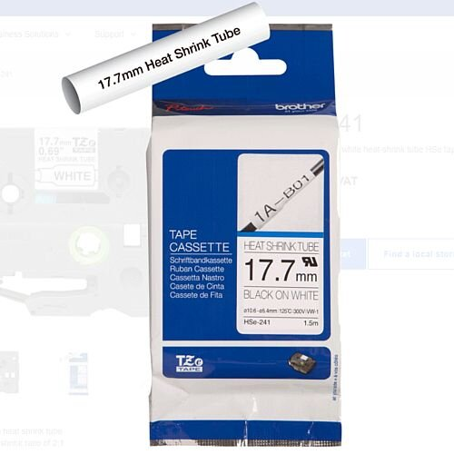 Brother Heat Shrink Tape 17.7mm Black on White Ref HSe241