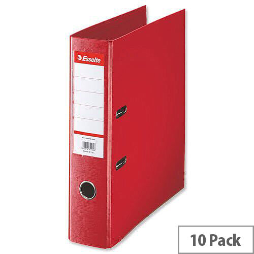 Esselte A4 Polypropylene 75mm Red Lever Arch File Pack of 10