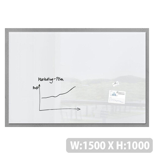 Sigel Artverum High Quality Tempered Glass Magnetic Whiteboard With Fixings 1500 x 1000mm White