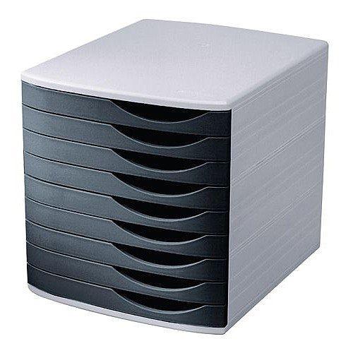 5 Star Elite Desktop Drawer Set 9 Drawers A4 and Foolscap Grey/ Black Ref 8344100-11451