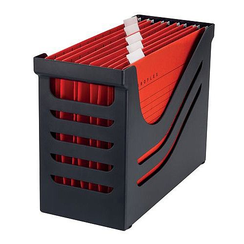 Jalema Accent File Box with 5 Suspension Files A4 Black/Red