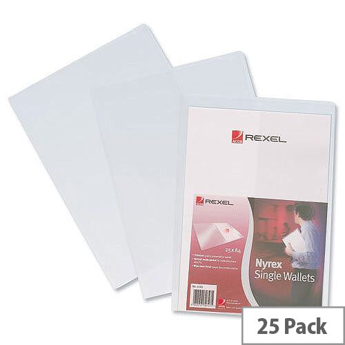 Rexel Nyrex Single Wallet with Inside Pocket A4 Clear 180 Micron Pack 25