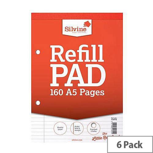 Silvine Refill Pad Feint Ruled Margin 160pp A5 Ref A5RPFM Pack 6