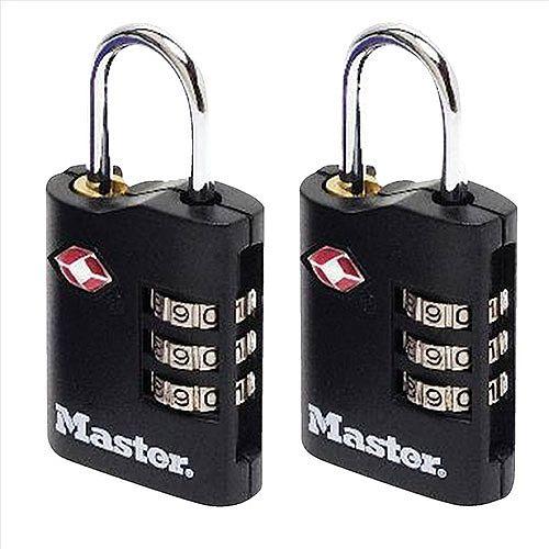 Masterlock Combination Padlock 3 Digit ABS TSA Certified 2x30mm [Pack 2]