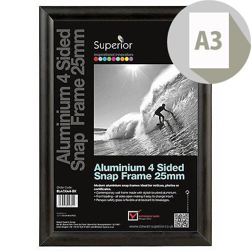 A3 Black Aluminium Snap Frame