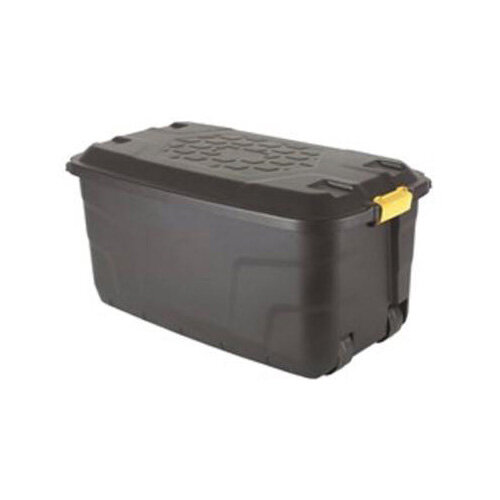 Strata Storage Trunk With Lid &4 Wheels For Moving Heavy Contents 145L Capacity Black. Made From Recycled Material &Is Also Water Resistant.