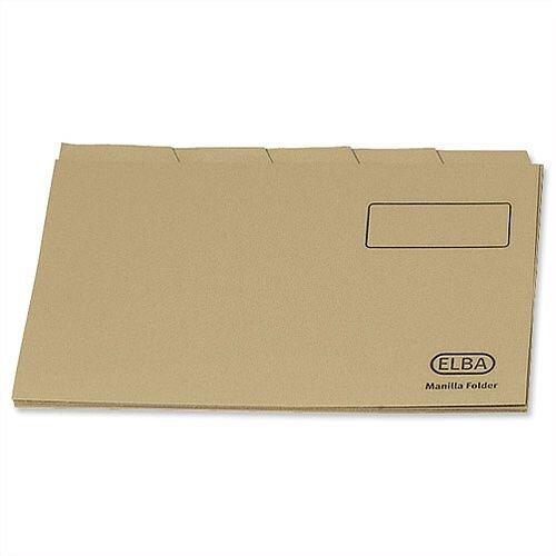 Elba Economy Tabbed Foolscap Folder Manilla Buff 20812 Pack 100