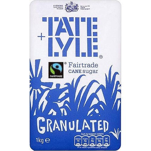 Tate and Lyle Fairtrade Cane Sugar Granulated Pure White Sugar Bag 1kg Ref NST548