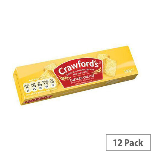 Crawfords Custard Cream Biscuits (Pack 12) Ref UTB001
