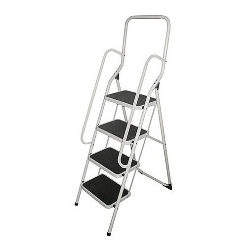 White Folding Step Stool With Handrail Height To Top Step 970Mm