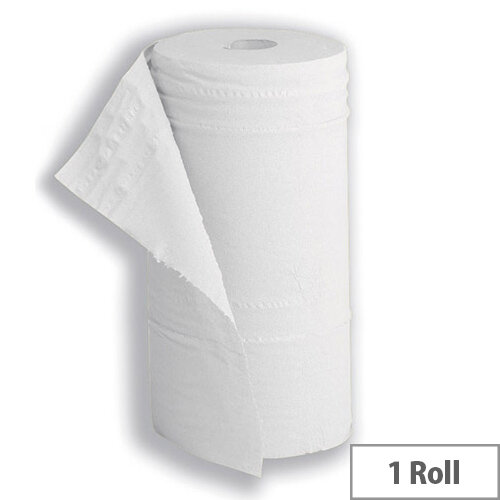 5 Star Disposable Hygiene Paper Roll 40m W10inch Recycled Paper Roll 2-Ply 130 Sheets W251xL457mm White Roll Pack 1