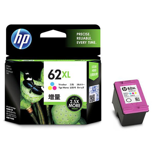 HP 62XL (Yield 415 Pages) Tri-colour Original Ink Cartridge for ENVY 5640/ENVY 7640/Officejet 5740 e-All-in-One Inkjet Printers C2P07AE