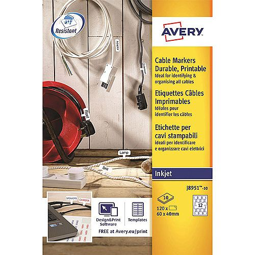 Avery J8951 Inkjet Cable Markers on A4 Sheets  120 Labels