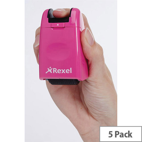 Rexel ID Guard Retractable Ink Roller  Pink  with Black Ink Pack of 5