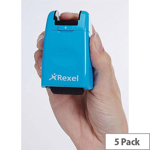 Rexel ID Guard Retractable Ink Roller  Blue  with Black Ink Pack of 5