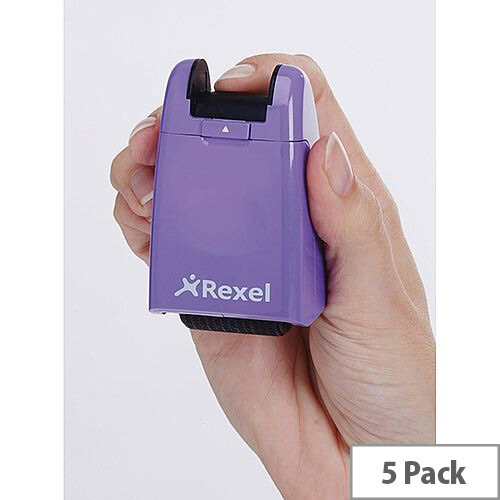 Rexel ID Guard Retractable Ink Roller Purple with Black Ink Pack of 5