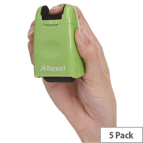Rexel ID Guard Retractable Ink Roller  Lime  with Black Ink Pack of 5