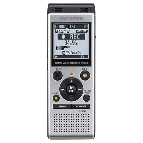 """Olympus WS-852 Digital Stereo Voice Recorder 4 GB Memory MP3 Built-In USB Key Silver. """"Auto Mode"""" Evens The Volume From The Sound Source. The Input Level is Reduced For Louder Volumes, &Decreased For Lower Volumes. Easy To Slot Into PC Or Mac For Easy Da"""