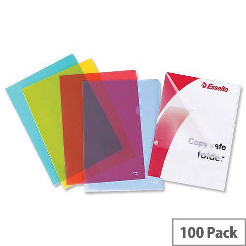 Esselte Green Plastic A4 Cut Flush Folder 54838 Pack 100