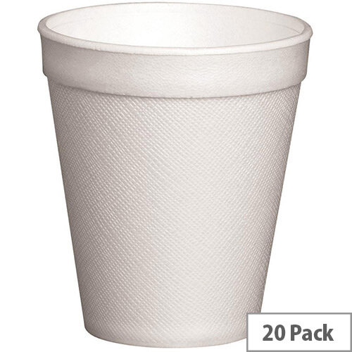 Foam Insulated Disposable Cups 10oz/300ml White Pack of 20