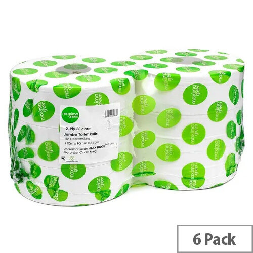 Maxima Green 76mm Core Dispenser Toilet Refill Paper Tissue Rolls 2 Ply Length 410m White Pack 6