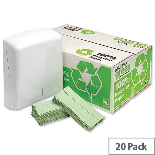 Maxima Green 1 Ply C-Fold Paper Hand Towels 144 Sheets Per Sleeve 20 Sleeves Green (2880 Sheets)