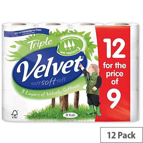 Triple Velvet Toilet Tissue Paper Rolls White 200 Sheets per Roll Toilet Paper Rolls Pack 12