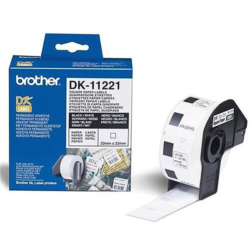 Brother DK-11221 23mm x 23mm Square Paper Labels Black On White 1000 Labels