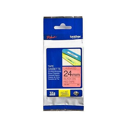 Brother P-touch TZe-451 24mm x 8m Black On Red Laminated Labelling Tape