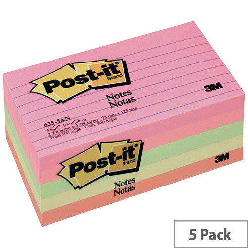 Post-it  76 x 127mm  Sticky Notes Lined Assorted  5 x 100 Sheets  - Cape Town Collection
