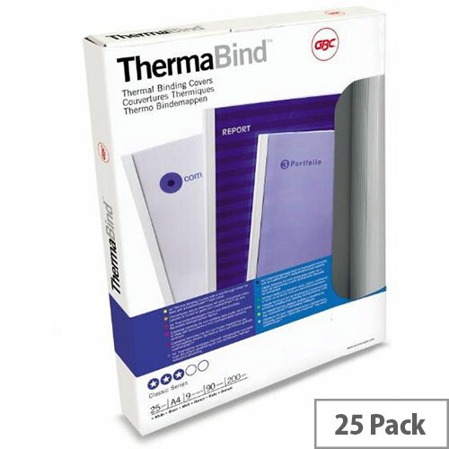 GBC  A4  Thermal Binding Covers 1.5mm 200gsm PVC/Gloss  Back Clear/White  Pack of 25