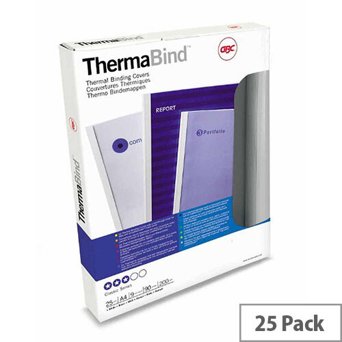 GBC  A4 Thermal Binding Covers 6mm 200gsm PVC/Gloss Back Clear/White Pack of 25 45442