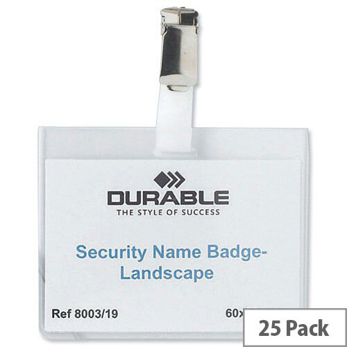 Durable Security Name Badges Landscape 60 x 90mm Pack 25