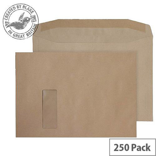 Purely Everyday Mailer Gummed Window Manilla 100gsm C4 229x324mm (Pack of 250)