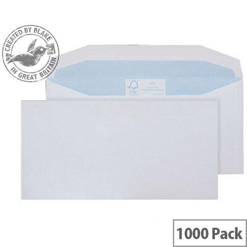 Purely Environmental Mailer Wallet Envelopes Gummed White 90gsm 102x216mm Pack of 1000
