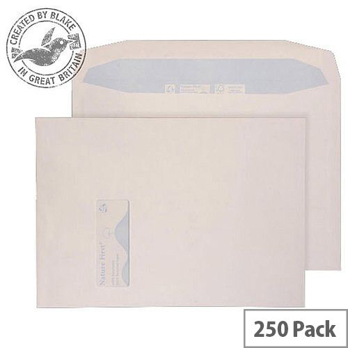 Purely Environmental Mailer Gummed Window White 100gsm C4 324x229 (Pack of 250)