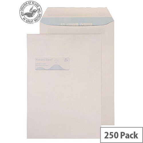 Purely Environmental Pocket Self Seal Window White 100gsm C4 (Pack of 250)