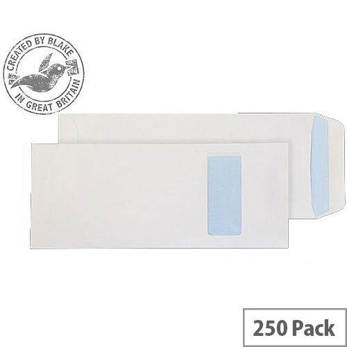 Purely Everyday White 100gsm Self Seal Pocket Half Window C4 305x127mm (Pack of 250)