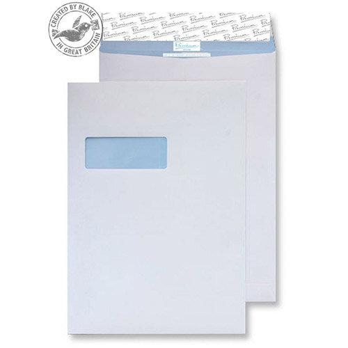 Blake Premium Secure White C4 Envelopes Peel and Seal Pocket Window 125gsm Pack of 20