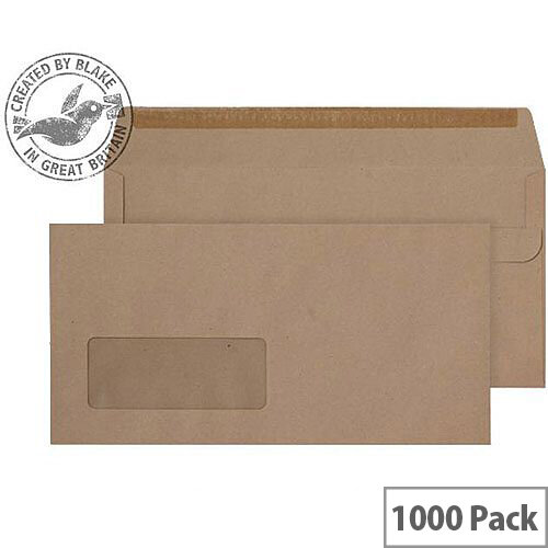 Purely Everyday DL Manilla Self Seal Wallet Window Envelopes 80gsm Pack of 1000